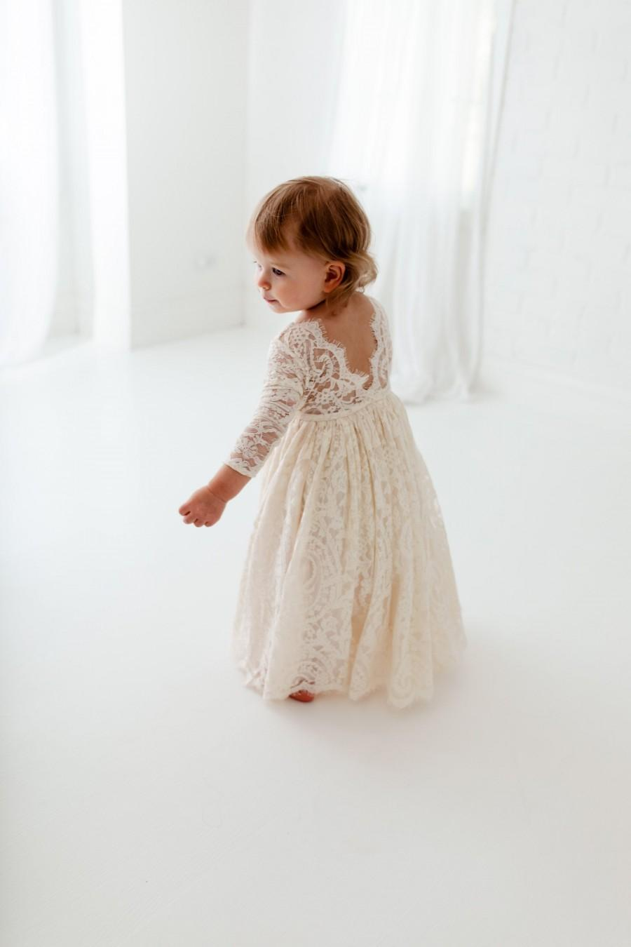 Hochzeit - Boho Lace Flower Girl Dress, Rustic Ivory Wedding Dress, Will You Be My Flower Girl Proposal, Bohemian Dresses