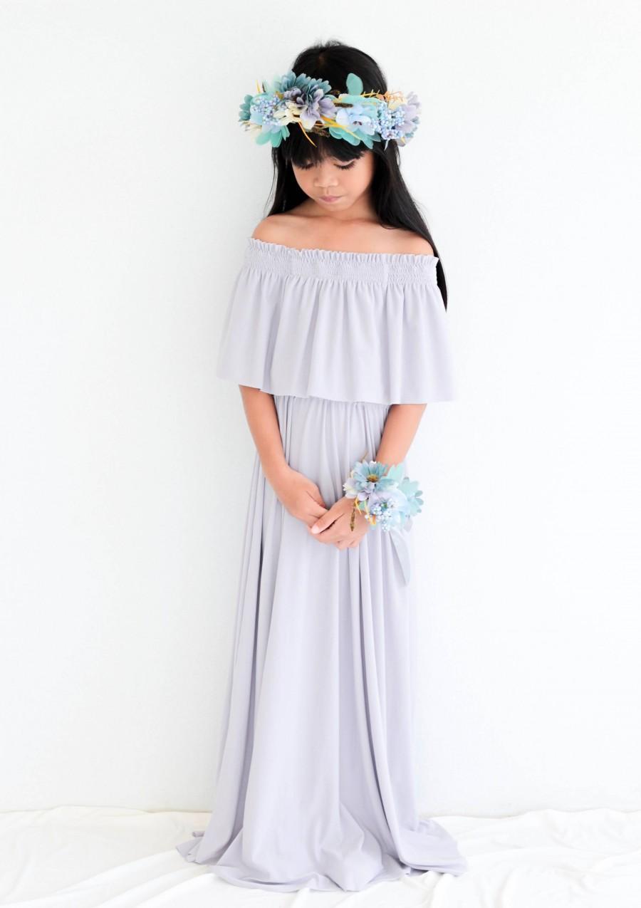 Wedding - Flower Girl Dress, Light Gray Off The Shoulder Flower Girl Dress, Flower Girl Dresses, Baby Dresses