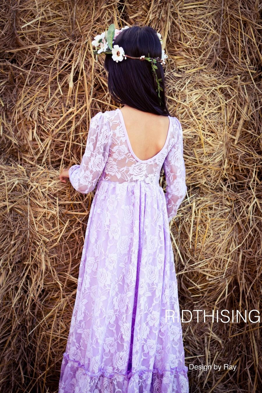 Wedding - Purple Long Sleeves Flower Gril Dress, Laveder lace Girl Dress ,Baby dresses