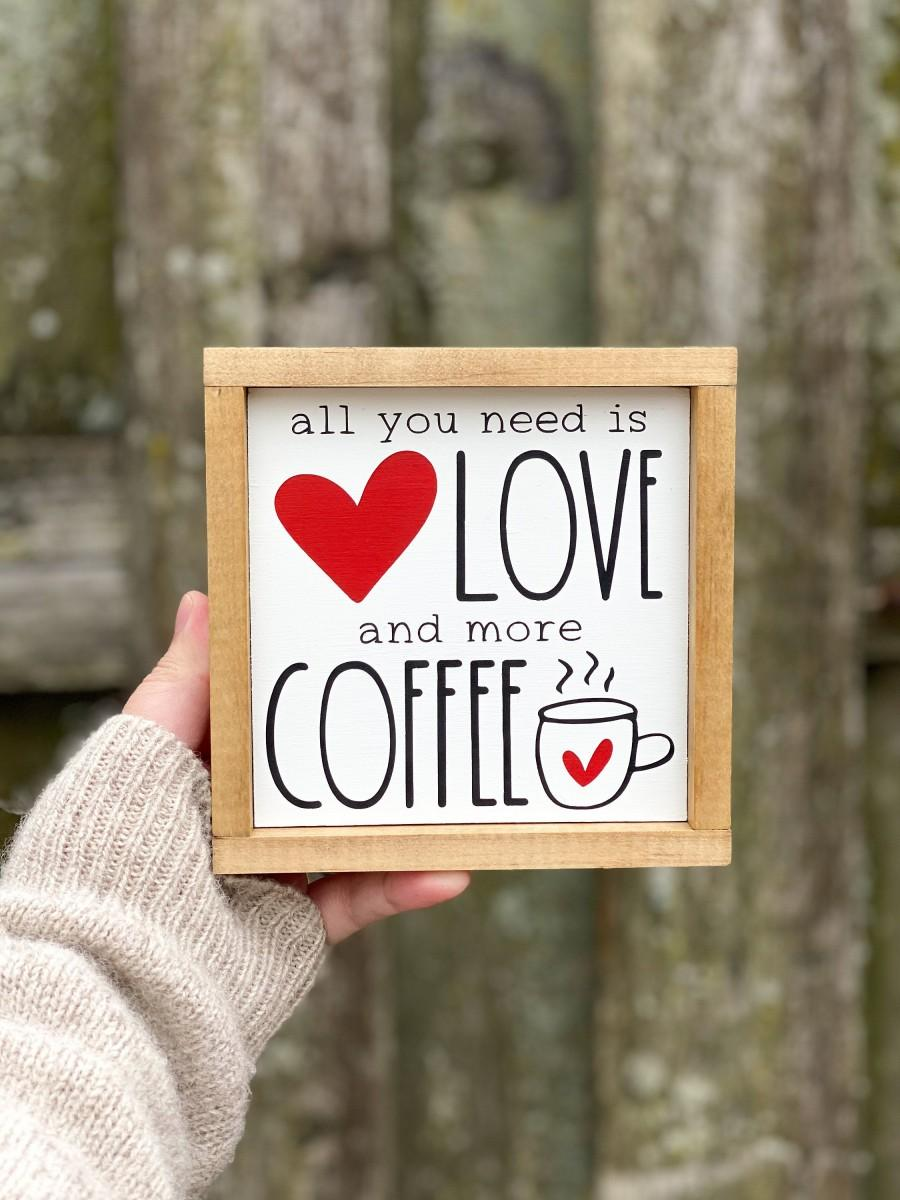 Mariage - Red/Pink Love and Coffee Wooden Sign