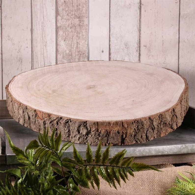 Mariage - Rustic Wood Slice Wood Log Slab Cake Stand 3 Sizes Rustic Wedding Decor Centrepiece Vintage