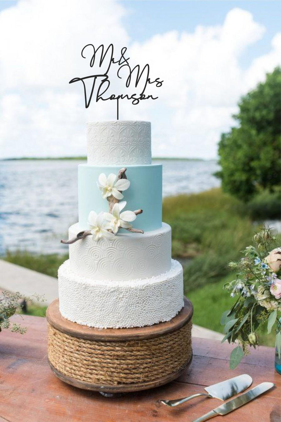 Mariage - Rustic Wedding Cake Topper, Mr and Mrs Sign Personalized Name Cake Topper ,Wedding Cake Topper , Cake Topper