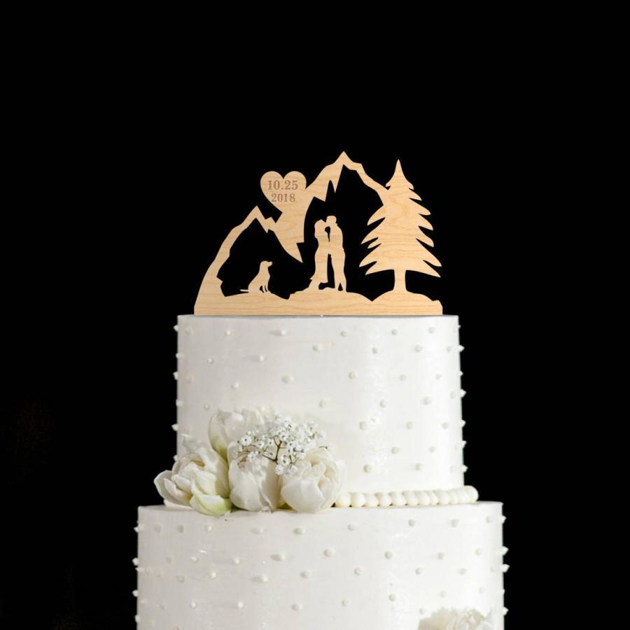 Wedding - Mountain cake topper,travel cake topper,mountain wedding cake topper,wedding cake topper with dog,wedding cake topper,dog cake topper,733