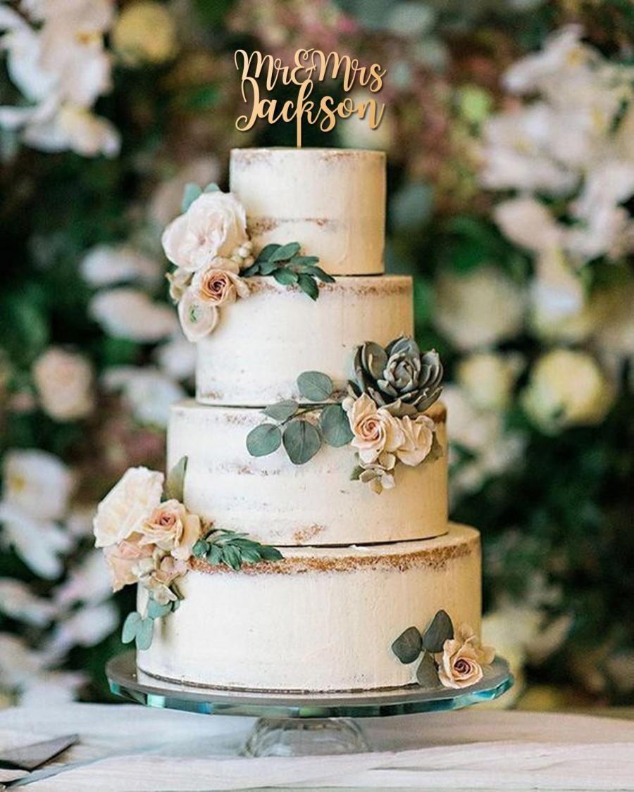 زفاف - Rustic Wedding Cake Topper with Last Name, Personalized Wooden Mr&Mrs Cake Topper in Gold Silver for Outdoor Wedding in Script Fonts