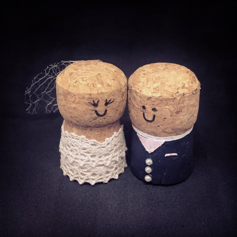 Wedding - Cork Bride and Groom Wedding Cake Topper