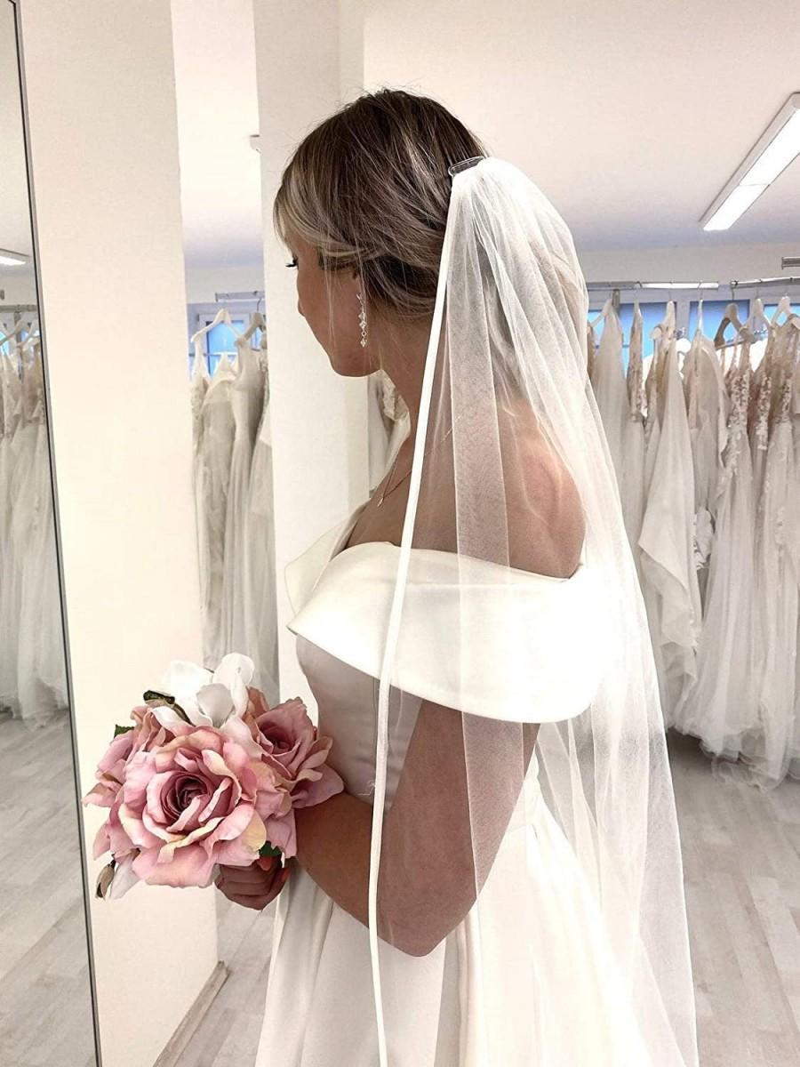 Hochzeit - Satin Ribbon Bridal Veil, Wedding Veil, Satin Veil, White Ivory Veil, Cathedral Long Veil, Classic Elegant Veil