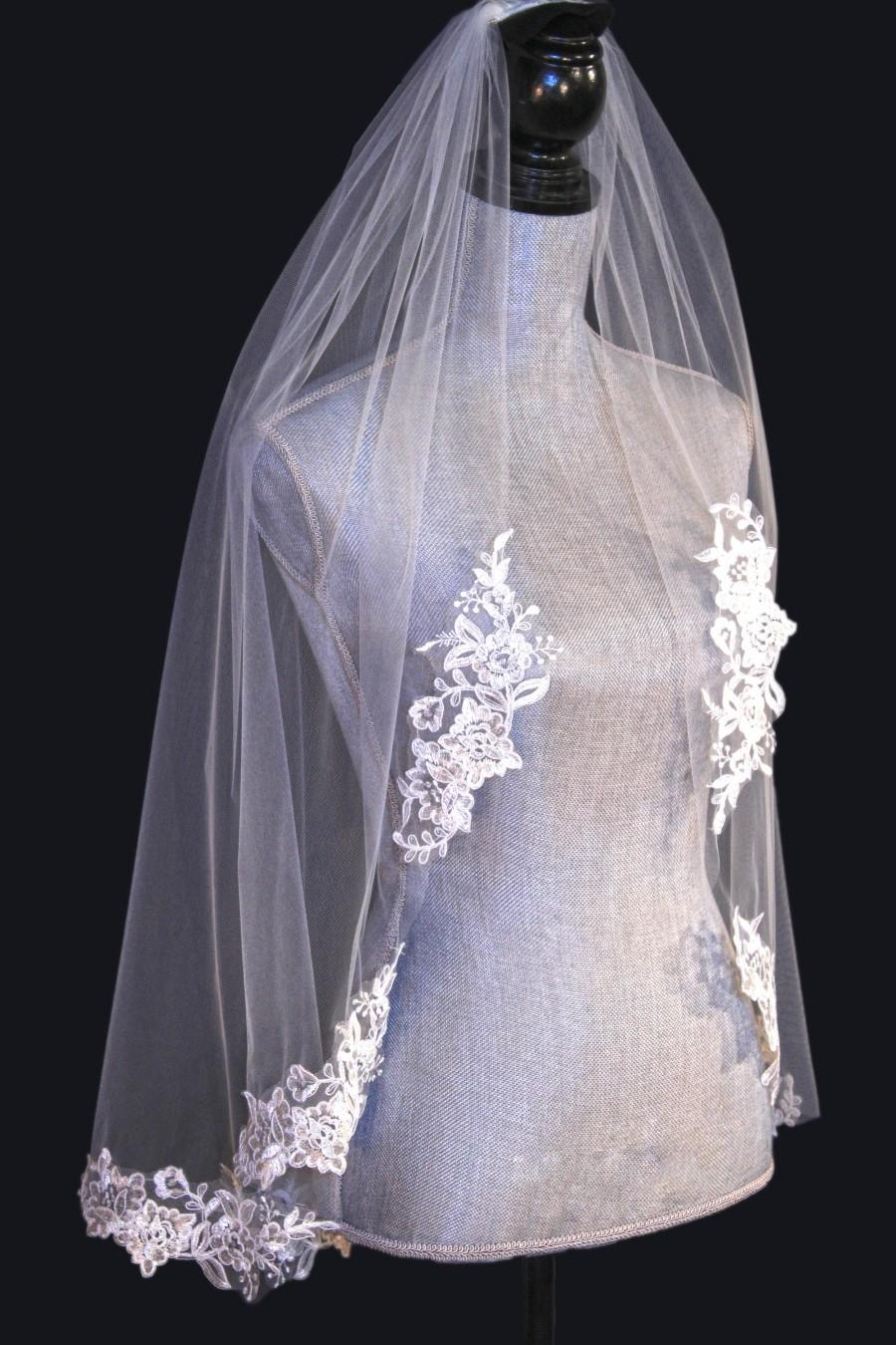 Wedding - Lace applique edge bridal veil