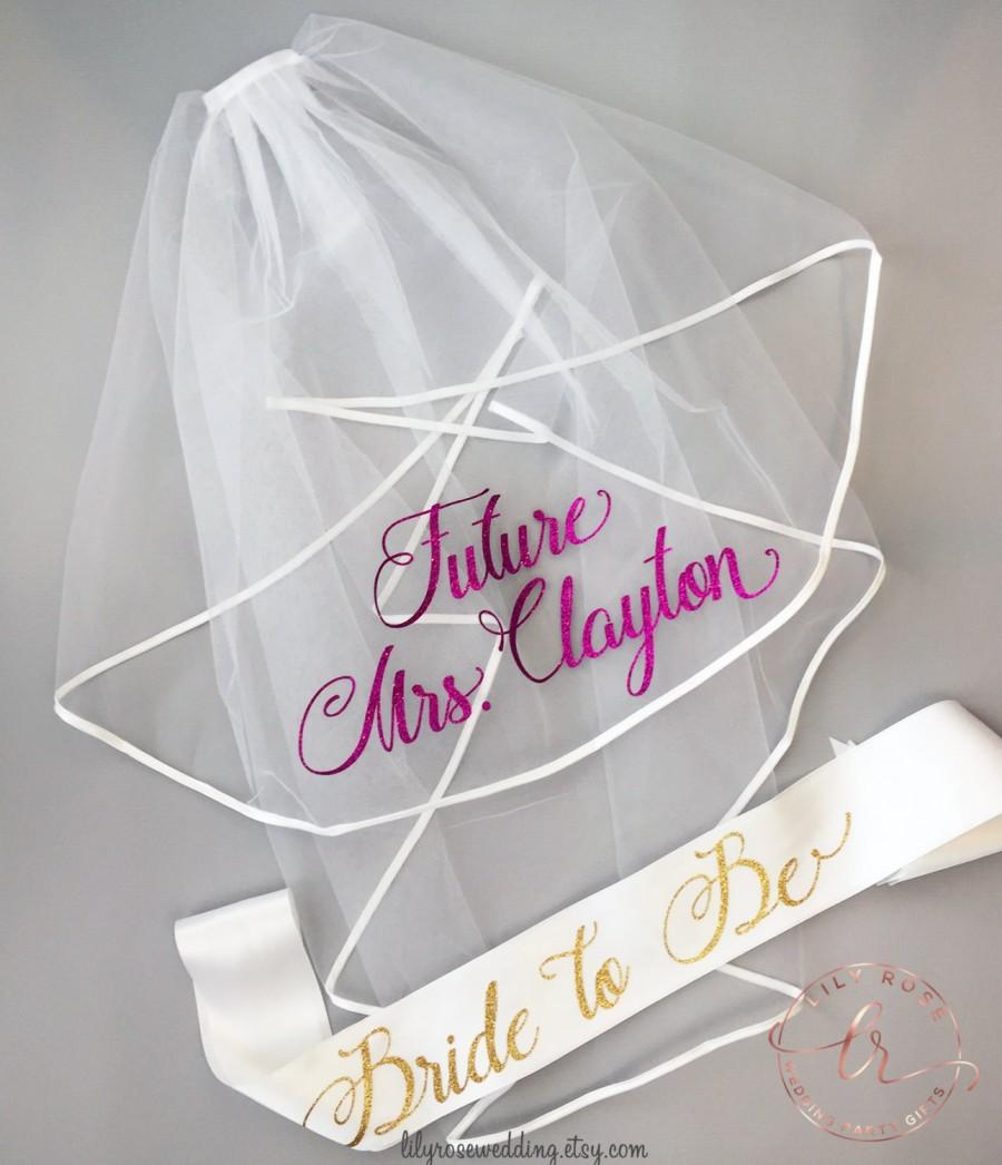 زفاف - Bachelorette Veil and Sash, Future Mrs Veil, Personalized Veil, Bride to Be Sash, Bachelorette Party Veil, Bridal Shower Veil and Sash
