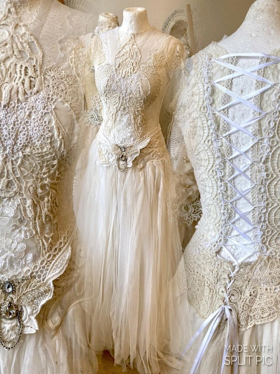 Mariage - Boho wedding dress vintage lace,bohemian bridal gown tattered ,upcycled Raw Rags, Gypsy wedding dress