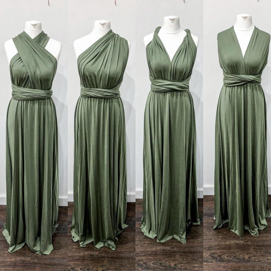 Hochzeit - Multiway Infinity Bridesmaid Dress for Weddings- Olive Green Multiway Bridesmaid Dress for Weddings