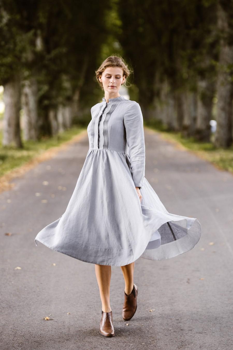 Mariage - Sondeflor Dress, Vintage Style, Linen Clothing, Linen Midi Dress, Silver Dress, Shirt Dress, Elegant Summer Dress, Linen Outfit/Elisa