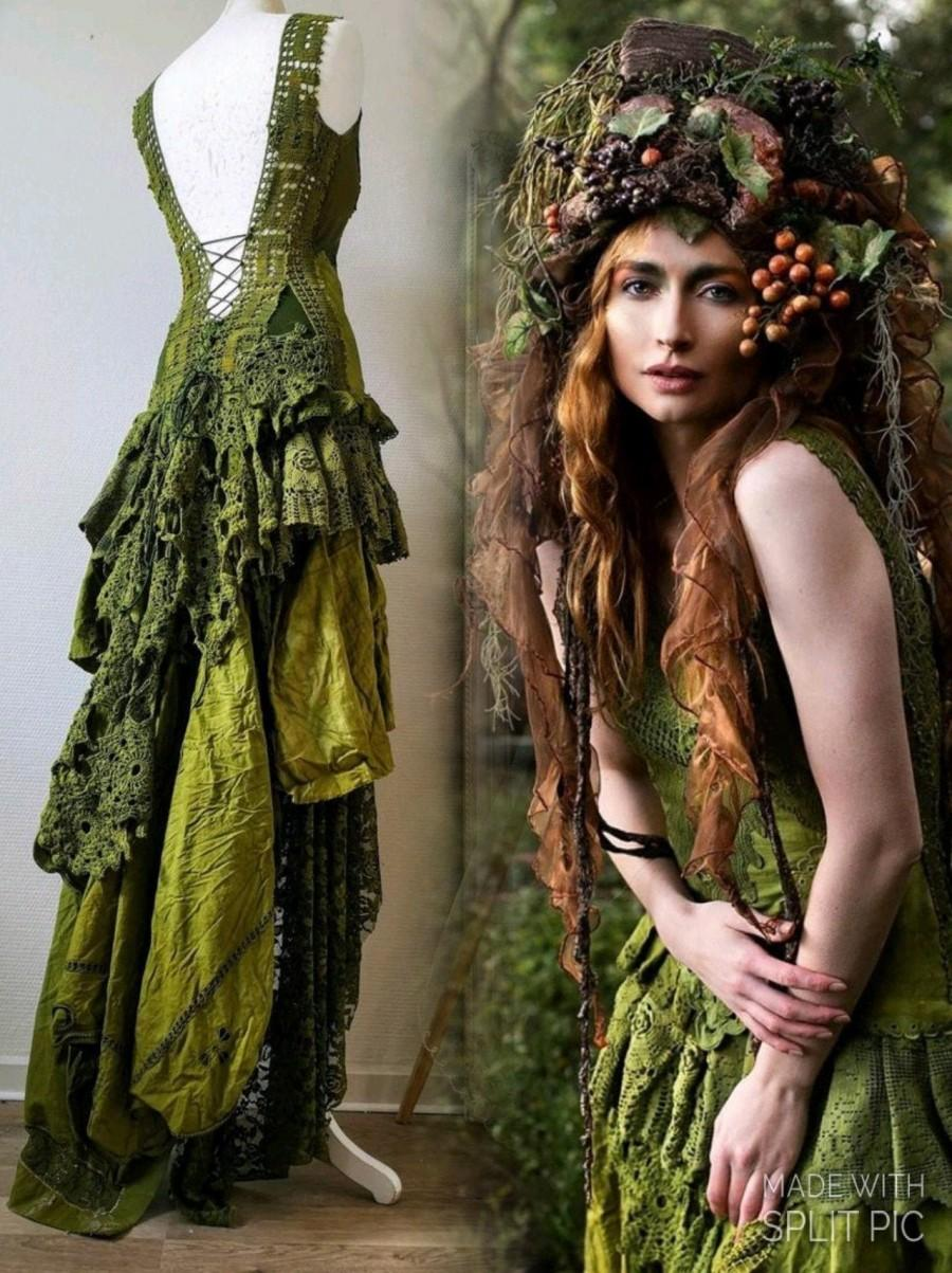زفاف - Boho wedding dress in olive green,Bridal gown for fairies dress,forest wedding dress