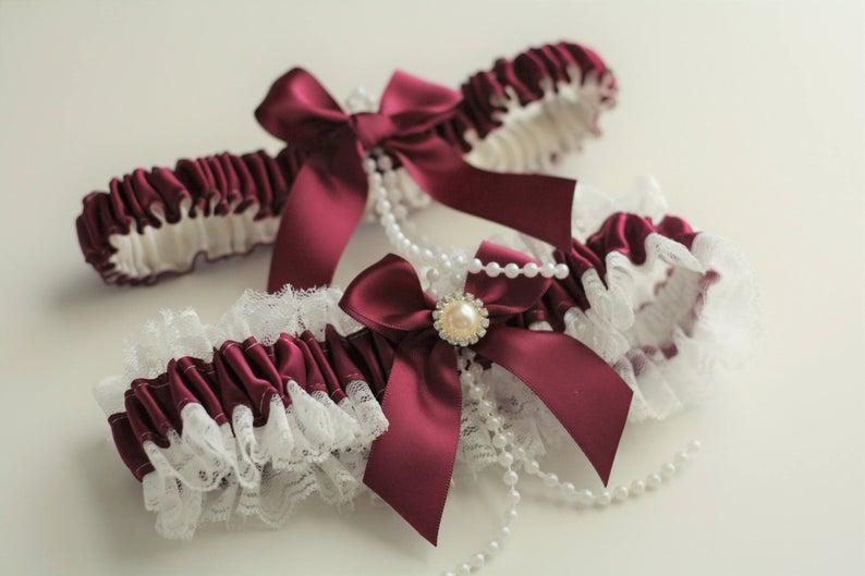 Wedding - Wine Bridal Garter Set, Wedding Garter Set