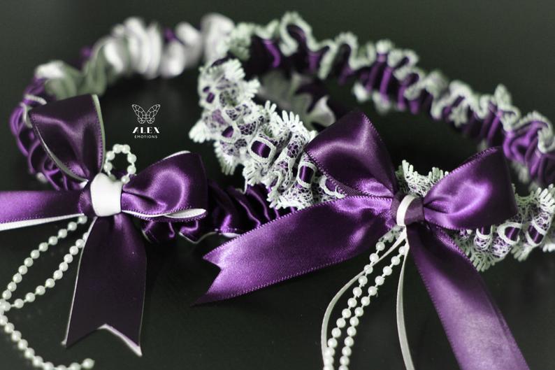 Wedding - Plum Wedding Garter Set, Egg Plant Garter Belt, Plum Toss Garters