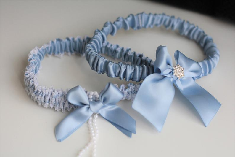 Wedding - Garter Set Steel Blue Garter, Steel Blue Garters