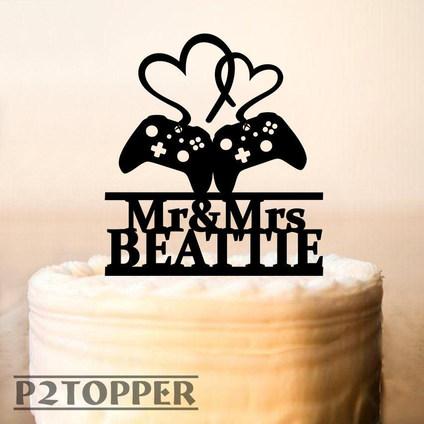 Mariage - Gamer wedding cake topper,Gamer cake topper,video game wedding topper,game controller cake topper,wedding cake topper,Mr & Mrs Topper 0363