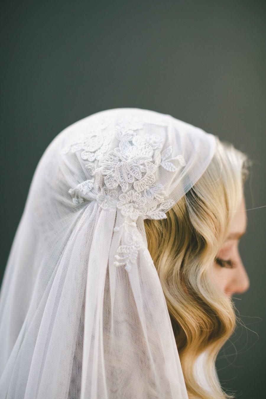 Wedding - Juliet Cap Veil-Eyelash Fringe Lace-1920s Headpiece-English Net Veil-Gatsby Headpiece-Halo Crown-Bohemian Crown-Boho Veil-Veiled Beauty 1519