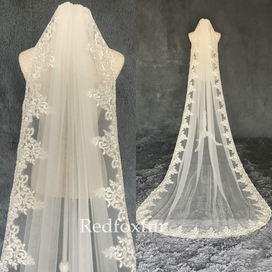Wedding - Bridal Veil,Veil,Wedding Veil,Lace veil,Cathedral Veil,1Tier veil,Ivory Veil,Veil Comb,Bridal gifts,Long veil,bachelorette veil,White Veil