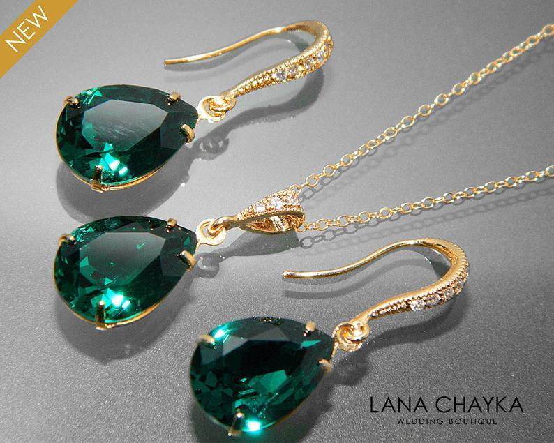 Свадьба - Emerald Green Crystal Jewelry Set Emerald Gold Earrings&Necklace Set Swarovski Emerald Rhinestone Jewelry Set Wedding Green Jewelry Sets