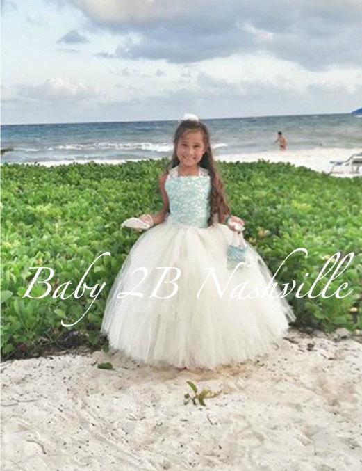 Wedding - Lace Flower Girl Dress Beach Wedding Tulle Flower Girl Dress Aqua and Ivory Dress   All Sizes Girls