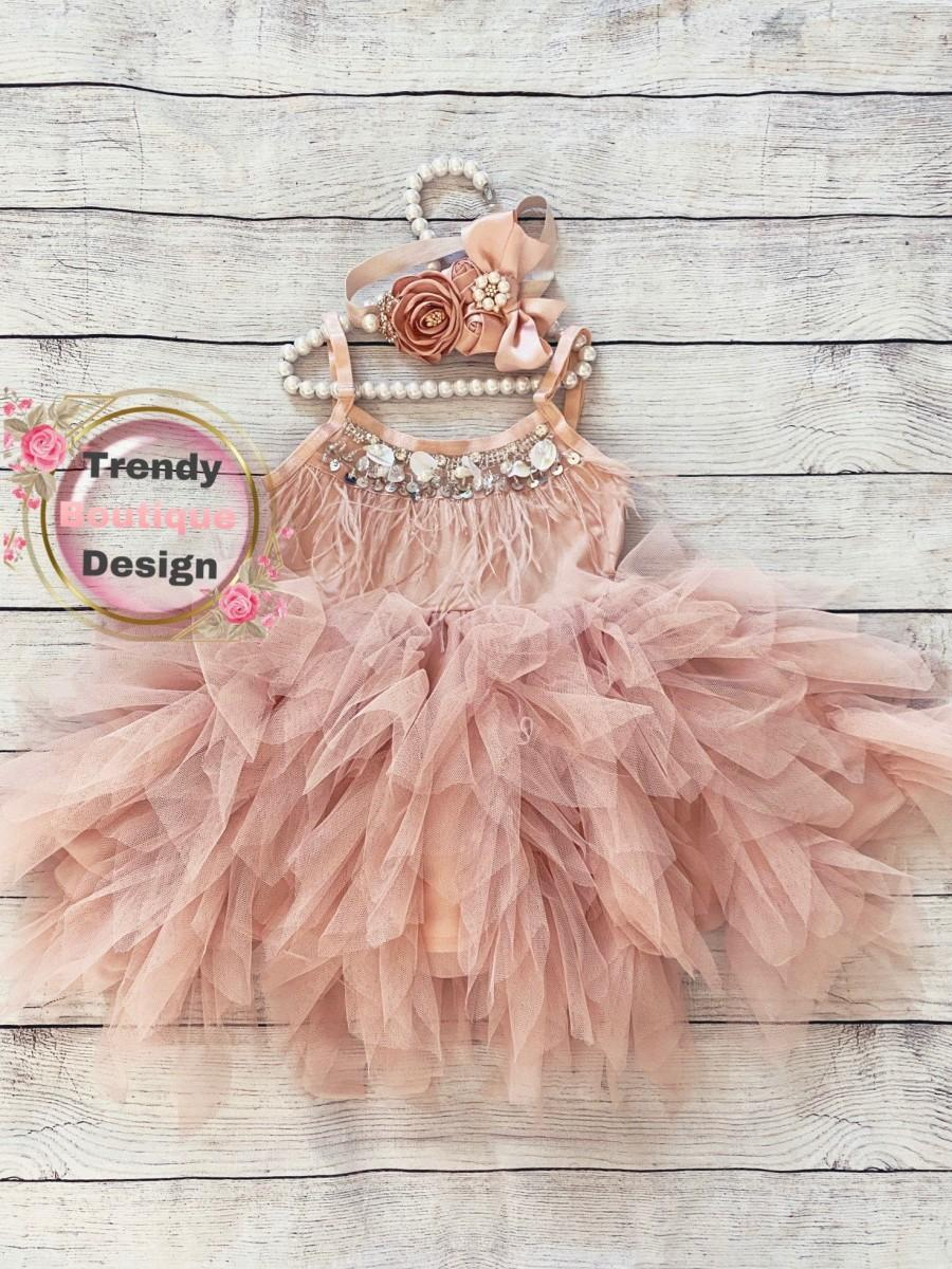 Mariage - Dusty pink blush .flower girl dress,  Feathers top,Baby  toddler dress,tulle and feathers , girl wedding dress