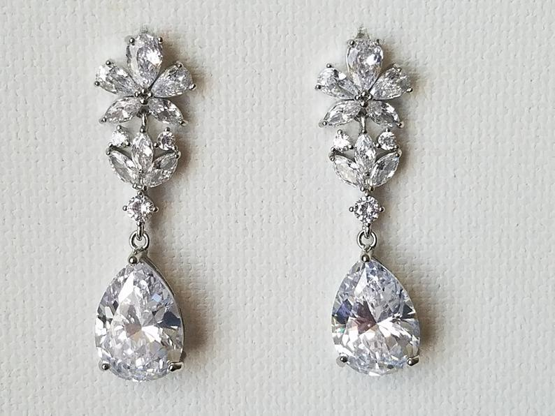 Свадьба - Crystal Bridal Earrings, Cubic Zirconia Teardrop Silver Earrings, Wedding Clear Crystal Earrings Statement Earrings Wedding Zirconia Jewelry
