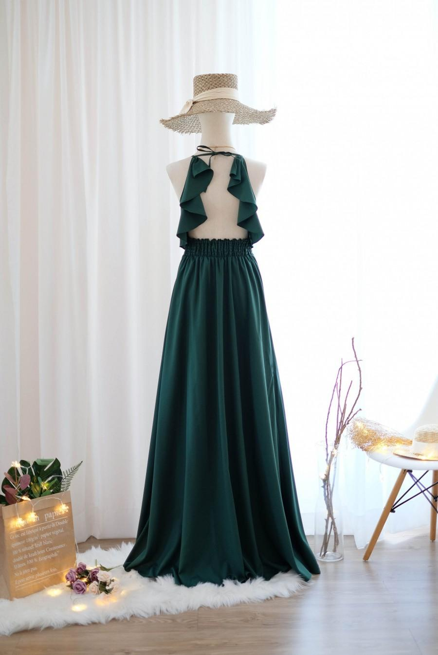 Wedding - Forest Green dress Dark Green bridesmaid dress Long Wedding Dress Forest Green cocktail Party dress Backless Halter Dress Evening gown