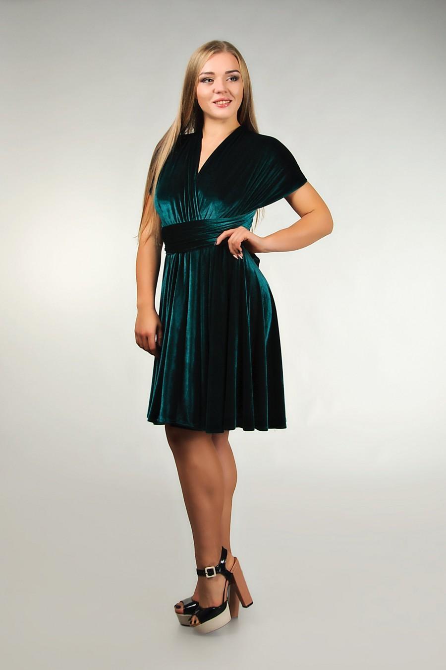 Mariage - Emerald green  bridesmaid dress velvet, Infinity dress, Prom dress, Convertible dress, Wrap dress