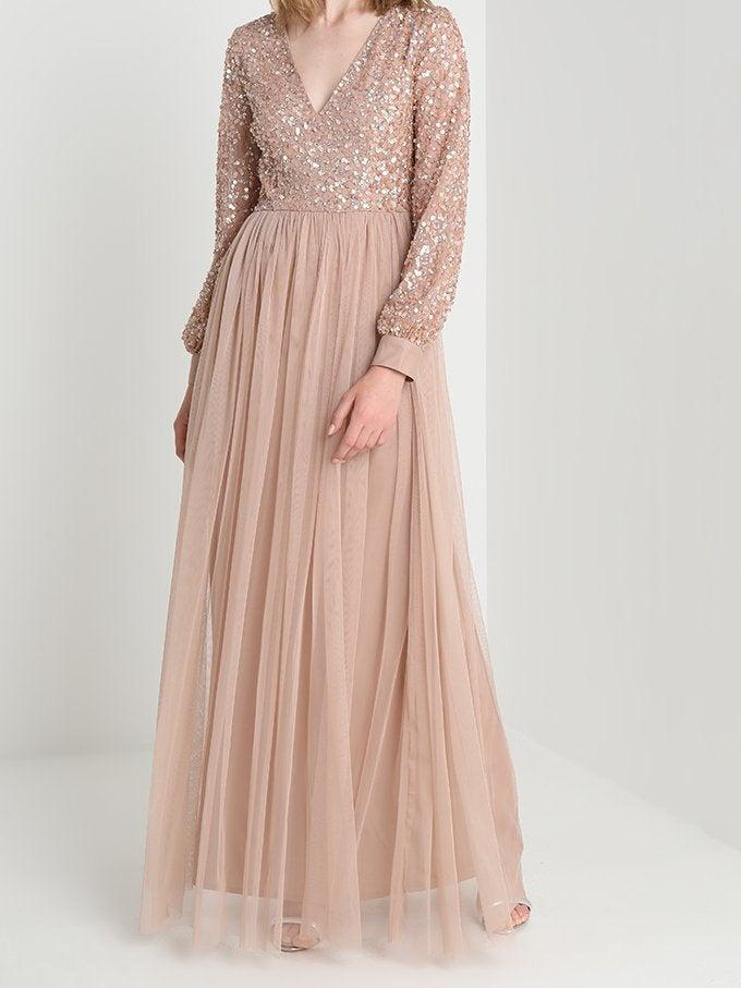 زفاف - Modest wedding dress graduation sequin maxi Kaftan long elegant green formal infinity long Bridal shower wedding guest Rose gold sequin
