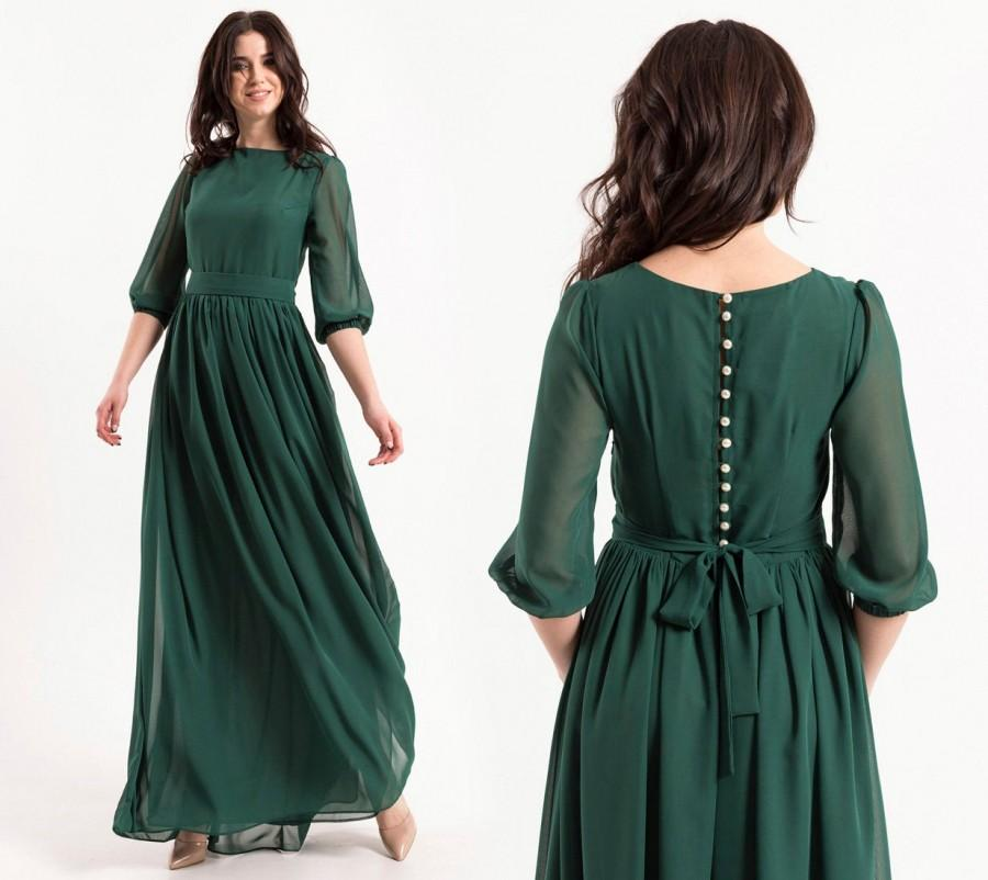 Wedding - Emerald Maxi Dress With Pearl Buttons And Sleeves / Women formal chiffon closed dress / Green wedding party long gown / Floor length dress