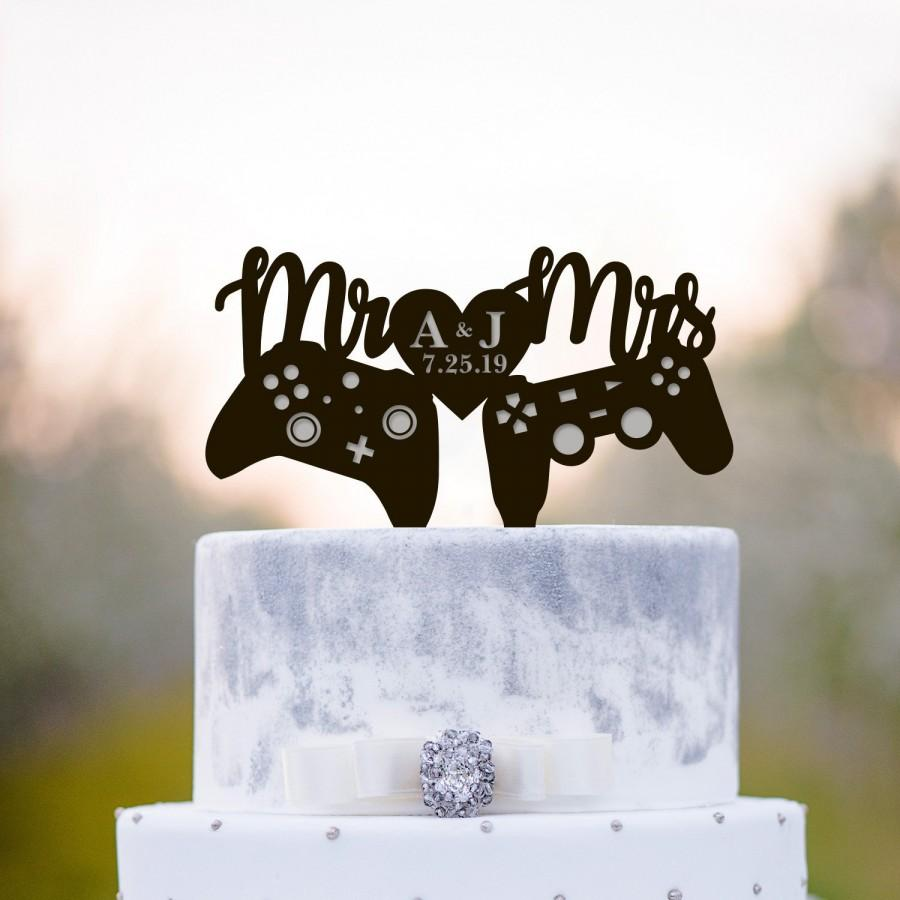زفاف - Gamers wedding cake topper,Gamer wedding cake topper,video game wedding cake topper,video games topper,xbox playstation cake topper,a232
