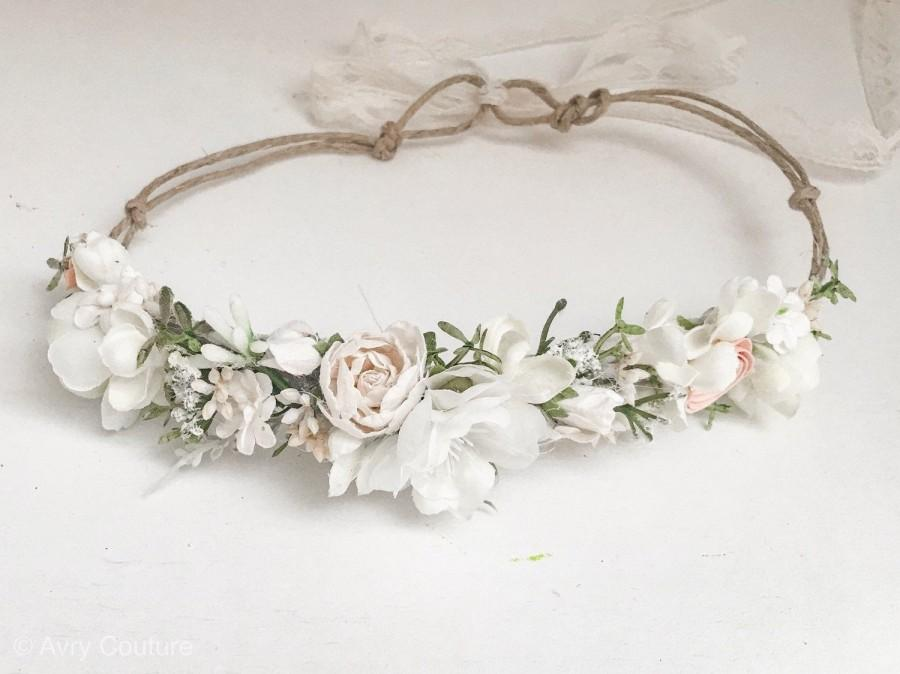 Mariage - Flower Crown- Baby Flower Crown- Baptism Headband- Wedding Flower Crown-  Flower Girl Crown