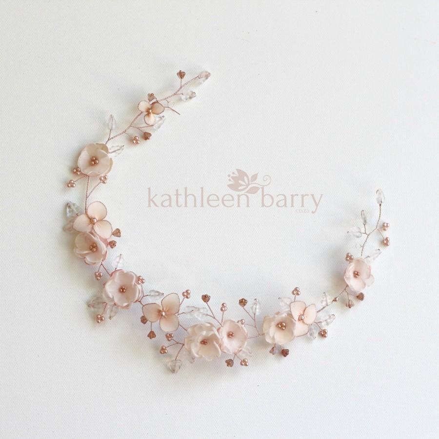 Wedding - Bridal vine style floral wreath blush pink gold rose gold wedding hair accessory color options available STYLE: Valentine