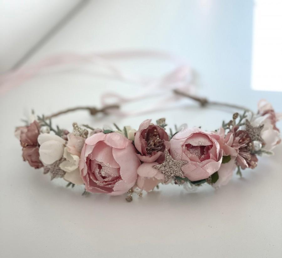 Wedding - Flower Crown, Pink star flower crown, Flower garland, Bride floral crown- Baby Flower Crown, Flower Girl