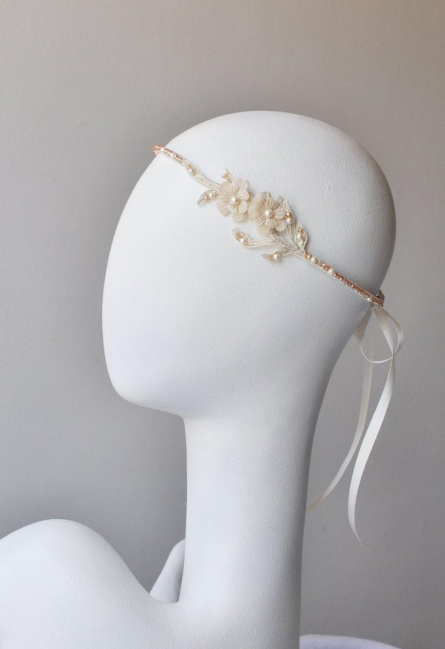 Hochzeit - Champagne Lace Bridal Headband, Floral Headpiece with Silk Flowers and Crystals, Champagne Flower Vine Headpiece, Bohemian Wedding Headband