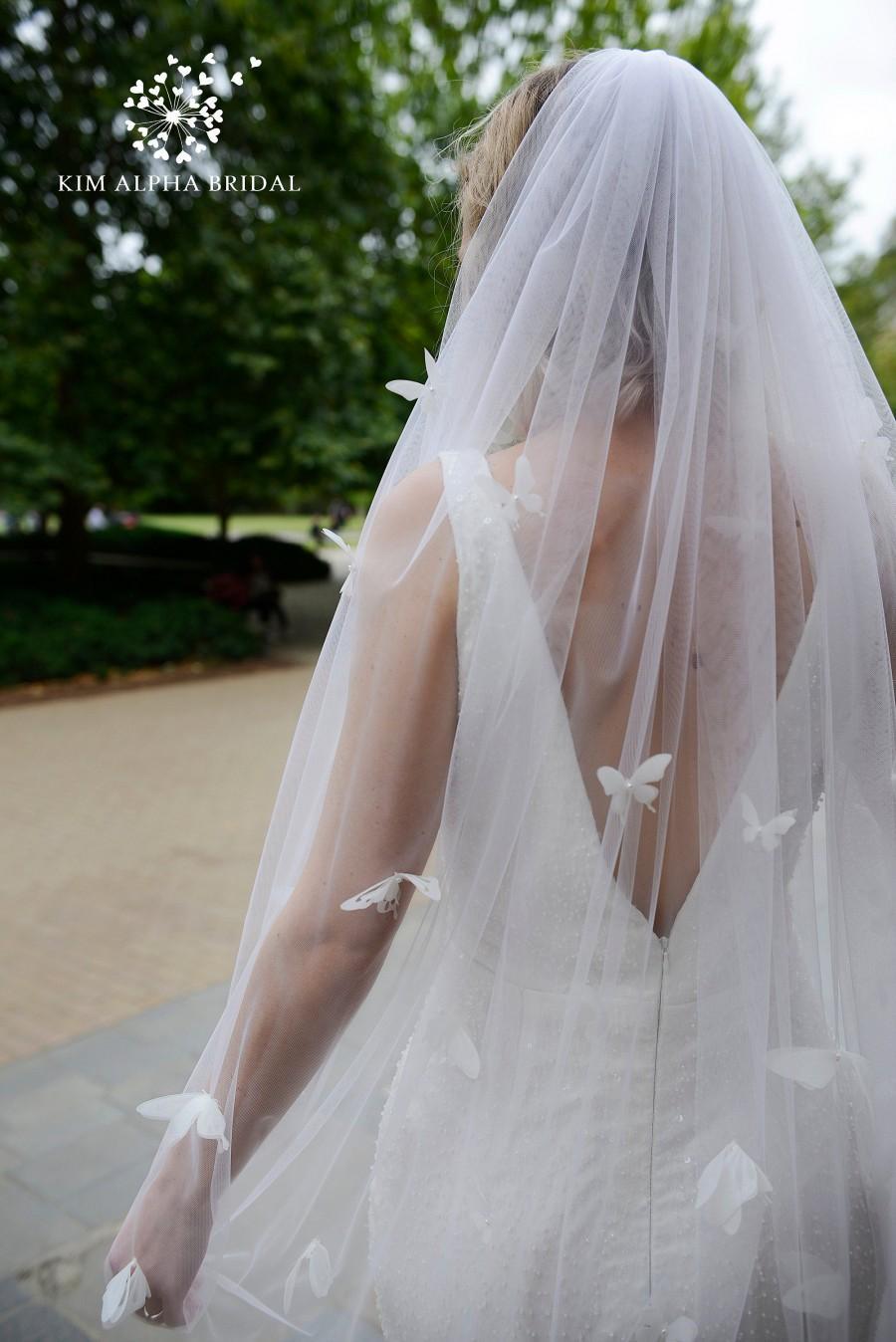 Mariage - CARA veil, butterfly veil, fingertip veil, sparkle veil, sheer veil, glitter veil, bridal veil, wedding veil,