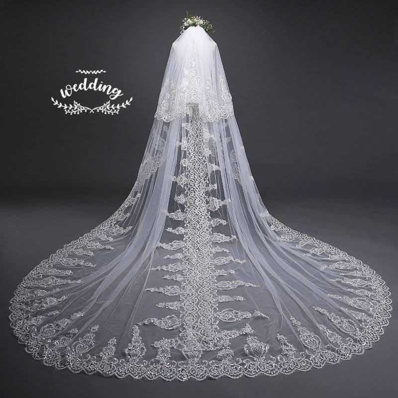 Mariage - Cathedral Ivory Wedding Veil with Embroidery,Ivory Bridal Veil-Ivory Veil,Chapel Veil,Ivory Wedding Veil with comb, Embroidered Blusher Veil