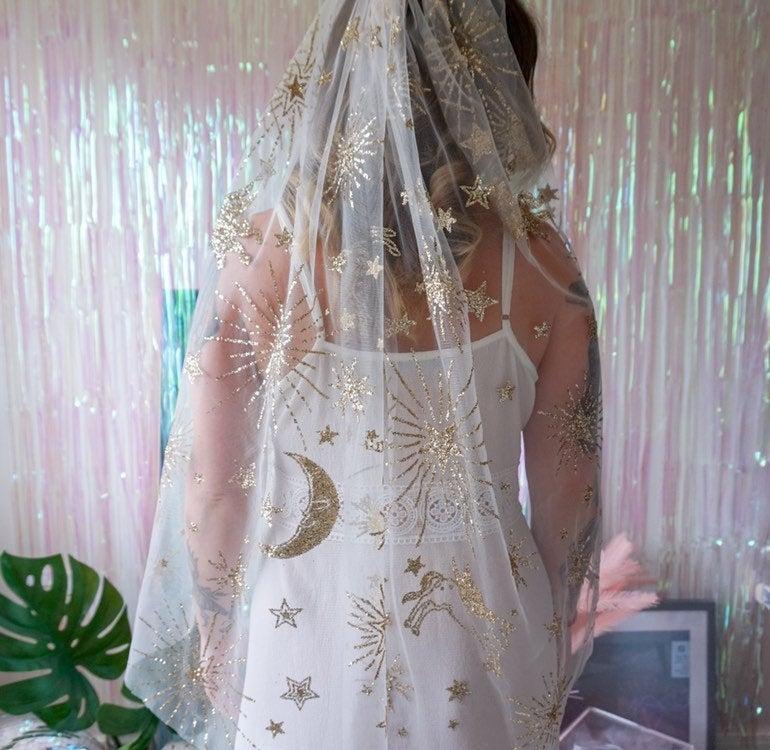 Mariage - Gold Glitter Constellation Veil