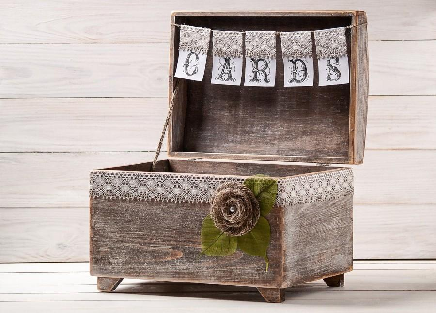Mariage - Wedding Card Box, Rustic Card Holder with Cards Banner, Honeymoon Fund Box, Big Wooden Chest, Envelopes Drop in Memory, Wishing Well