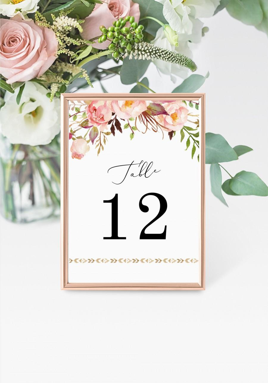 "زفاف - Boho Table Numbers 5x7"" INSTANT DOWNLOAD, Printable Wedding Table Numbers, DIY Printable Decorations, Templett, Editable, INSW012"