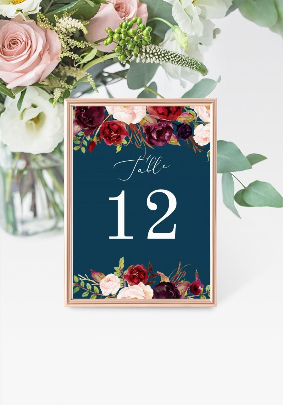 "Wedding - Marsala Table Numbers 5x7"" INSTANT DOWNLOAD, Printable Wedding Table Numbers, DIY Printable Decorations, Templett, Editable, INSW025"