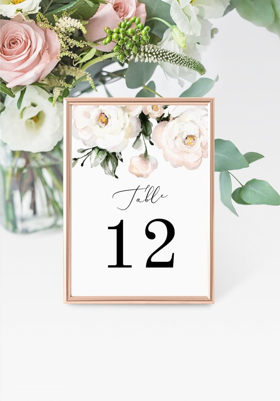 """Свадьба - Roses Table Numbers 5x7"""" INSTANT DOWNLOAD, Printable Wedding Table Numbers, DIY Printable Decorations, Templett, Editable, INSW021"""