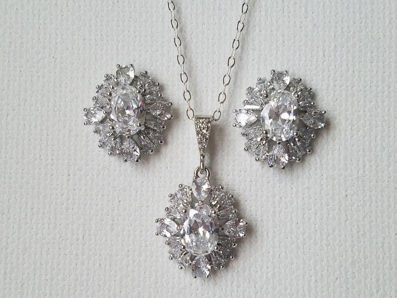 Hochzeit - Crystal Bridal Jewelry Set, Wedding Cubic Zirconia Halo Earrings Necklace Set, Clear CZ Jewelry Set, Zirconia Earring Studs, Crystal Pendant
