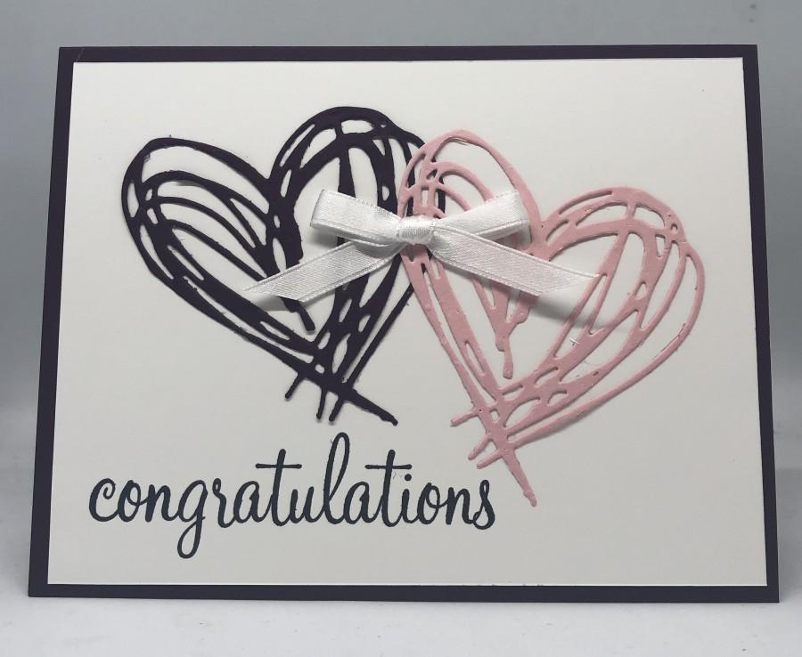 Hochzeit - Hearts Wedding Card, Tying the knot card, Congratulations on your wedding, Handmade Wedding card, Elegant wedding card, Couples card