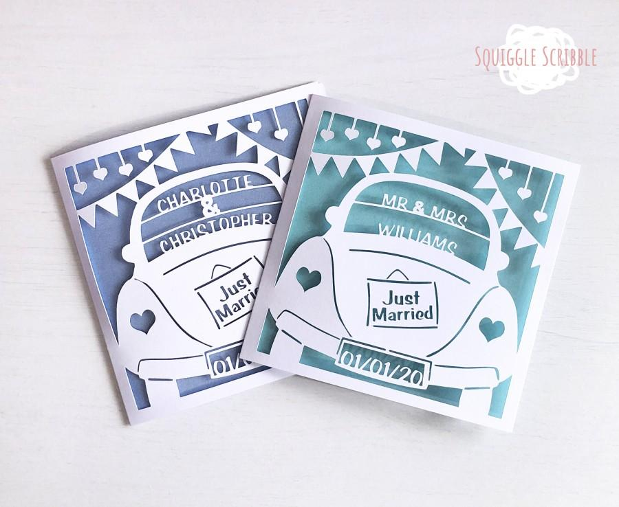 Hochzeit - Personalised Paper Cut Just Married Wedding Card // Congratulations // Happy Couple Card