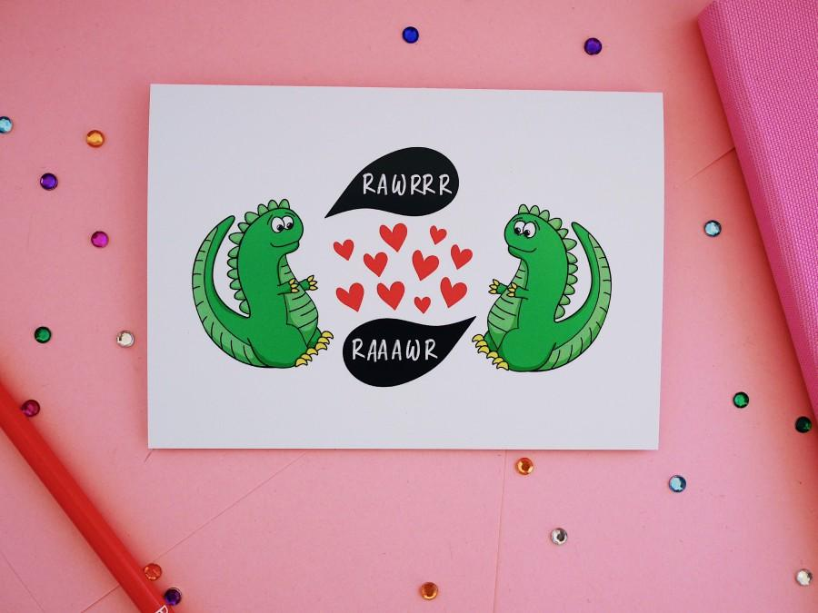 Hochzeit - Dinosaur Love card, anniversary, birthday, wedding or valentines Day