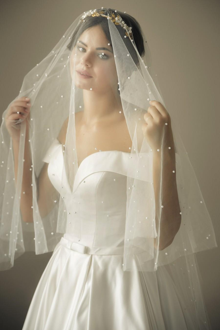 Mariage - Double layer pearl Wedding veil with blusher Chapel bridal veil with pearls beaded Modern Fingertip Veil Ivory Wedding Two 2 Tier long veil