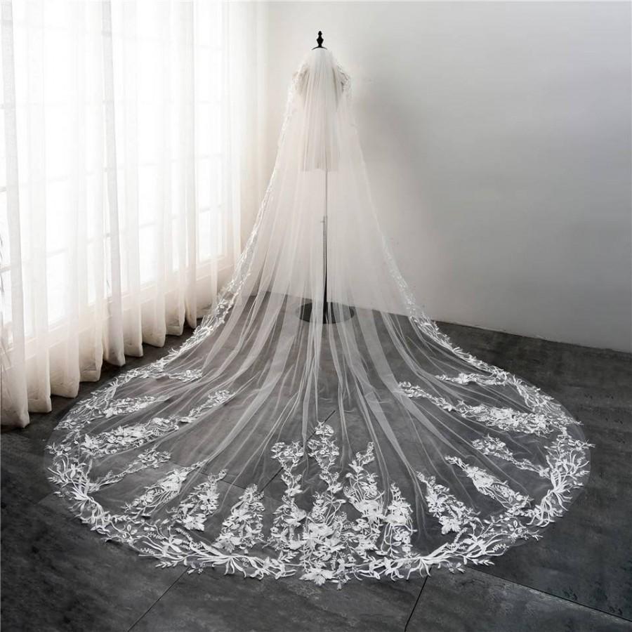 Hochzeit - Cathedral White Wedding Veil with Embroidery,White Bridal Veil-White Veil,Chapel Veil,White Wedding Veil with comb, Embroidered Wedding Veil
