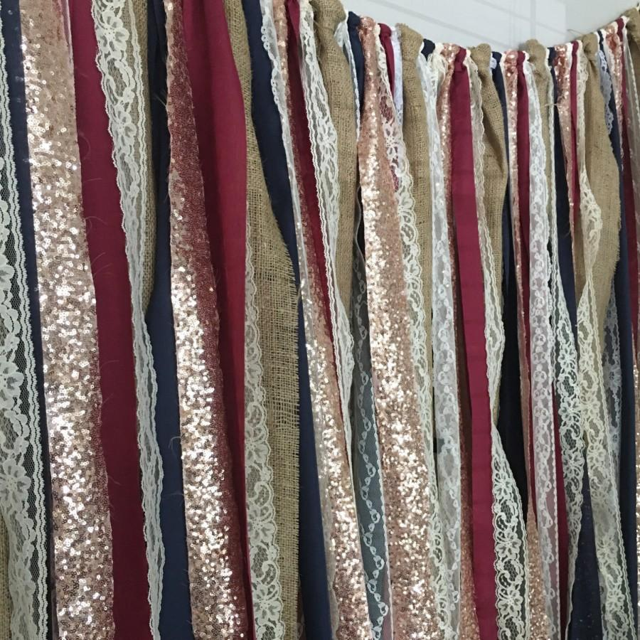 Mariage - Burlap, Navy, Burgundy & Rose Gold Sequin Garland Backdrop - Rustic Chic Wedding, Photo Prop, Curtain, Baby Shower, Party Deco