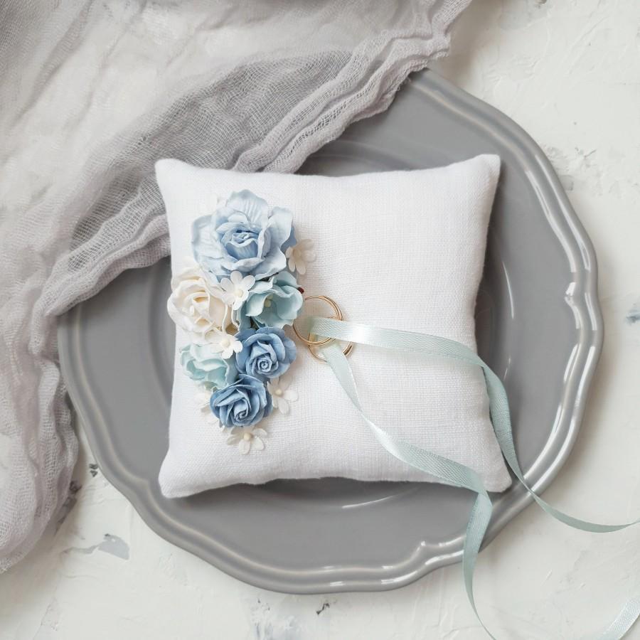 Свадьба - Blue Ring holder Ring bearer pillow Dusty blue wedding ring holder Dusty blue ring holder with flowers Engagement ring box